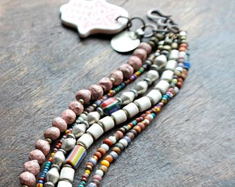 Desert Pastels Bracelet- Multistrand Boho Bracelet - Trade Beads - Vintage and Silver Beads - Bohemian Bracelet
