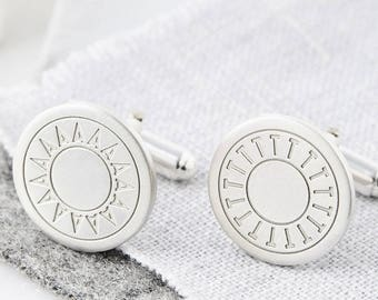 Silver Initial Cufflinks, Personalised Engraved Cufflinks, Personlized Wedding Cufflinks, Gift for Him,  Cufflinks for him, Silver Cufflinks