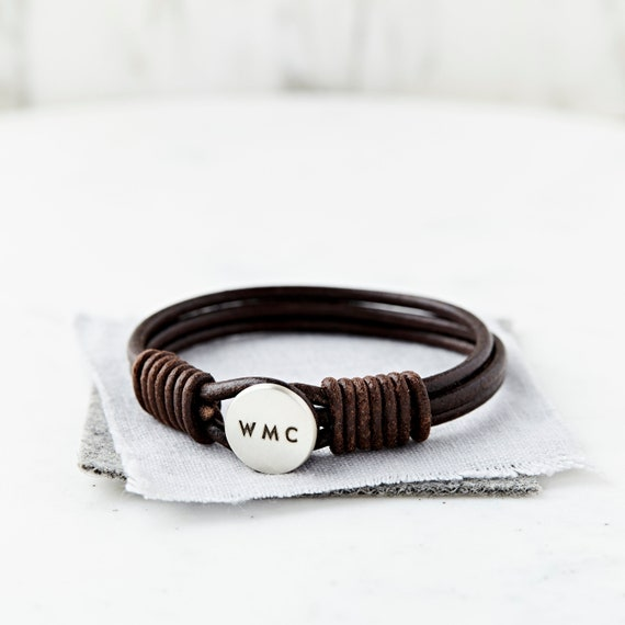 9e8dd0561aa41 Engraved Mens Leather Bracelet Hidden Message – Bracelet for Him  Personalized with Name, Initials, Words and Secret Message