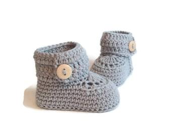 Grey Baby Booties, Crochet Baby Booties, Baby Boots, Baby Shoes, Baby Ugg, Baby Girl, Baby Boy, Baby Shower Gift, Newborn Baby Gift