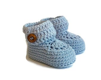 Blue Knitted Booties, Crochet Baby Boots, Baby Shoes, Baby Ugg, Baby Gift, Baby Boy, Baby Shower Gift, Newborn Baby Gift Warm and Woolly