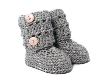 Eyelet Lace Button Cuff Baby Booties