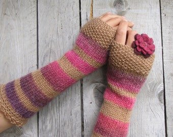 Long Arm Warmers Fingerless Gloves Stripes Knitted Mittens Boho Knit Gloves Winter Wrist Warmers Brown Pink Puple Gloves Christmas Gift Her