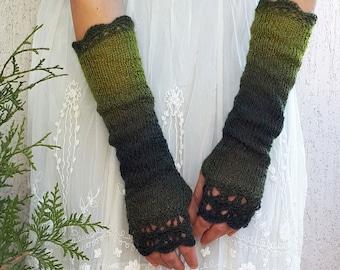 Long Fingerless Gloves Womens Arm Warmers Extra Long Knitted Outlander Mittens Winter Crochet Wrist Warmers Green Gloves Woodland Gift