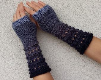 ca3eafd3967 Fingerless Knit Gloves Gray Arm Warmers Hand Knitted Gloves Warm Vegan Gloves  Winter Fingerless Mittens Gray Wrist Warmers Womens Gift