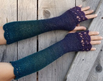 Long Fingerless Gloves Womens Knitted Mittens Winter Arm Warmers Crochet Wrist Warmers Boho Elegant Womens Gift Purple Teal Blue Gloves