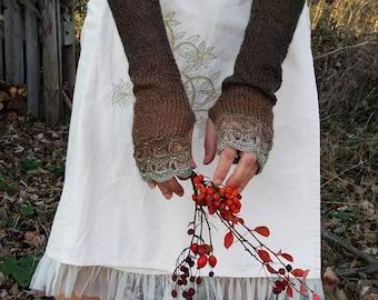 Long Fingerless Gloves Womens Arm Warmers Extra Long Knitted Mittens Winter Wrist Warmers Crochet Gloves Brown Green Gloves Woodland Gift