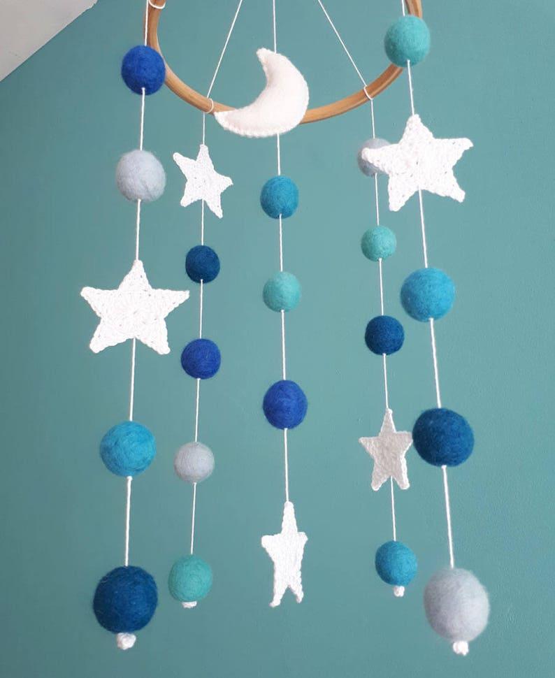 9f2656284e54e Moon Baby Mobile Stars Boy Nursery Decor Space Crib Mobile