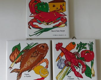 Vintage Seafood Tiles by D.H. Holmes Co 1983