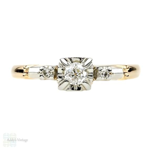 d40847e4f958d Old European Cut Diamond Engagement Ring, Vintage Birks Three Stone 14k &  18k Gold.