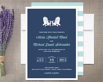 Adirondack Beach Chairs Wedding Invitations