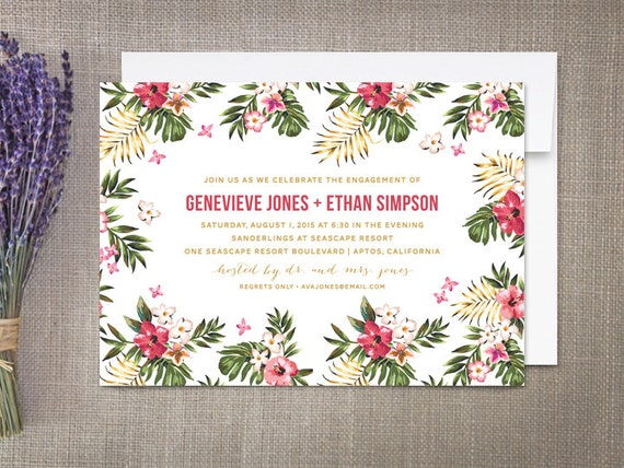 hibiscus engagement party invitations hawaii tropical etsy