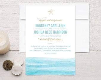 Beach Wedding Invitations, Watercolor Waves