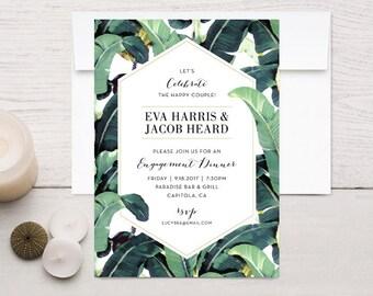 Tropical Plantation Banana Leaf Engagement Invitations