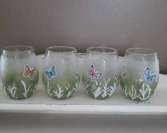 Set of Four Stemless Wine Glasses-Hand Painted