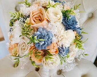 Dusty blue and peach bouquet,  slate blue flowers,  sola wood flowers