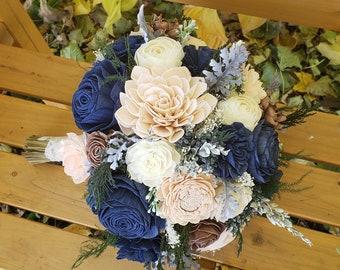 Navy and Blush Sola Bouquet, Christmas Bouquet, Evergreen Bouquet, Winter Bouquet