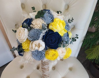 Slate, dark blue,  and yellow bouquet,  sola wood flowers,  bridal bouquet