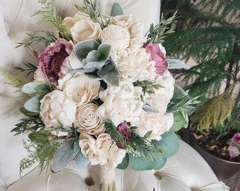 Ivory and greenery sola flower bouquet,  mauve flowers,  quartz flowers