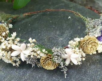 Fairy Queen Sola Flower Hair CrownHair Wreath Hair CircletFully CustomizableWood Flower Hair Accessory
