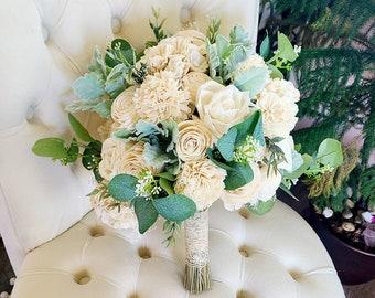 Ivory bridal bouquet,  sola wood flower bouquet,  spring greenery bouquet