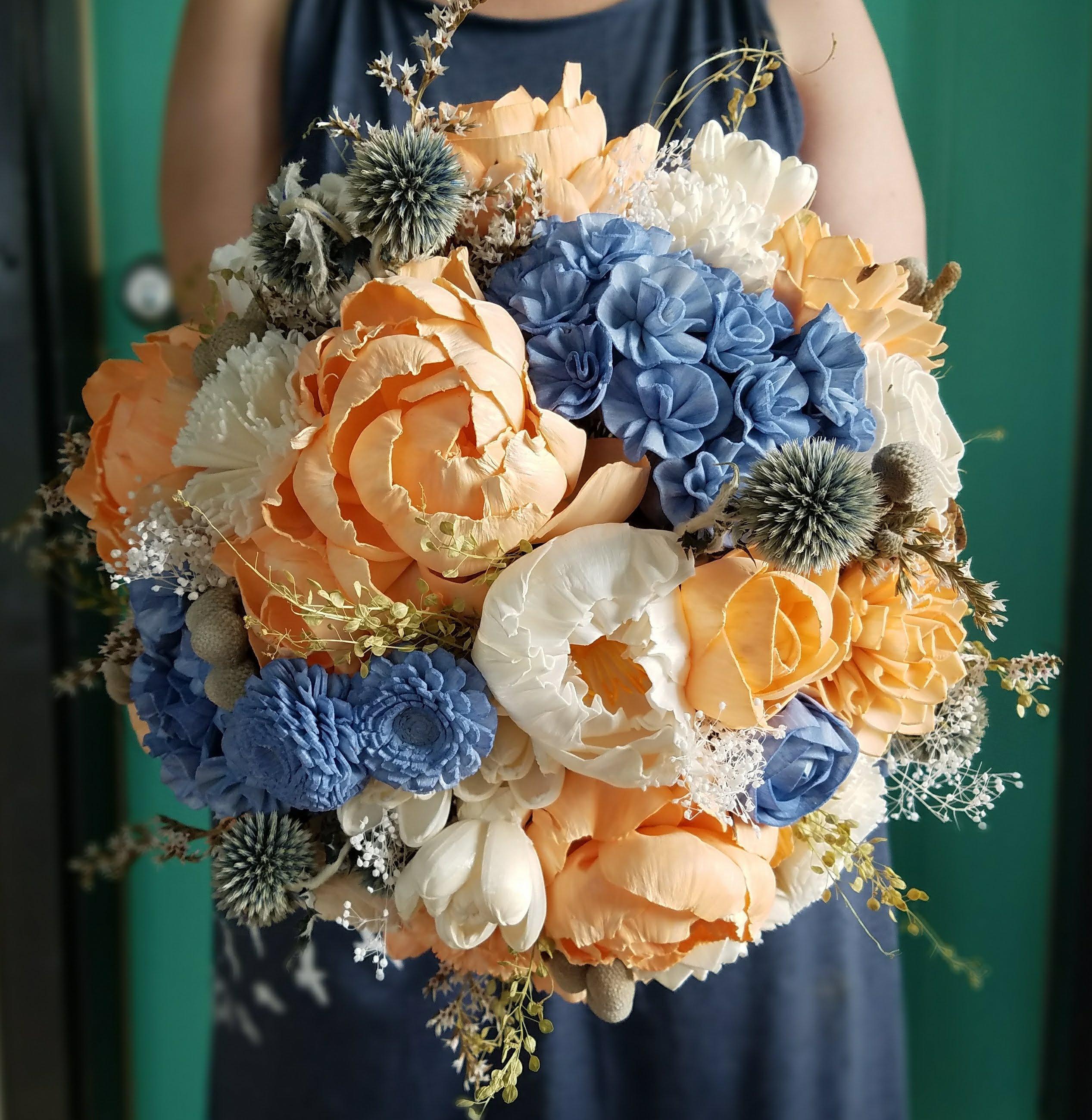 Hydrangea Bouquet Sola Flower Wooden Flower Steel Blue Etsy