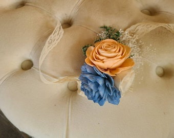 Peach and dusty blue corsage,  sola wood flower corsage,  fall wedding corsage