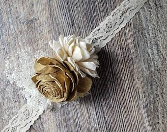 Sola flower corsage,  gold flower,  gold wedding corsage
