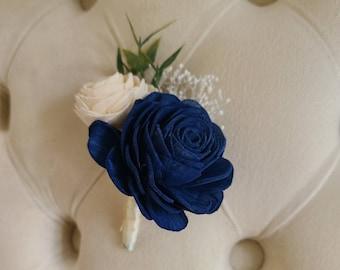 Dark blue sola flower,  wedding boutonniere, blue sola wood boutonniere