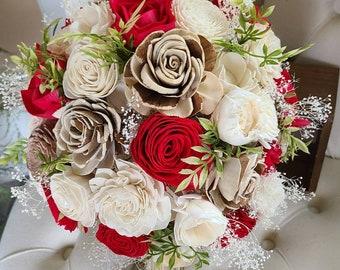 Red wedding bouquet,  sola flower bouquet,  rustic bridal bouquet