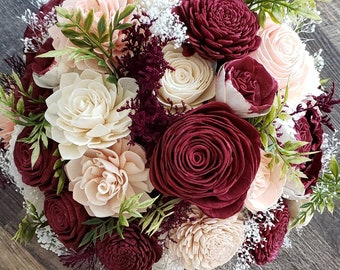 Burgundy and blush bouquet,  sola flower bouquet,  wooden wedding flowers,  wine and blush,  English rose bouquet