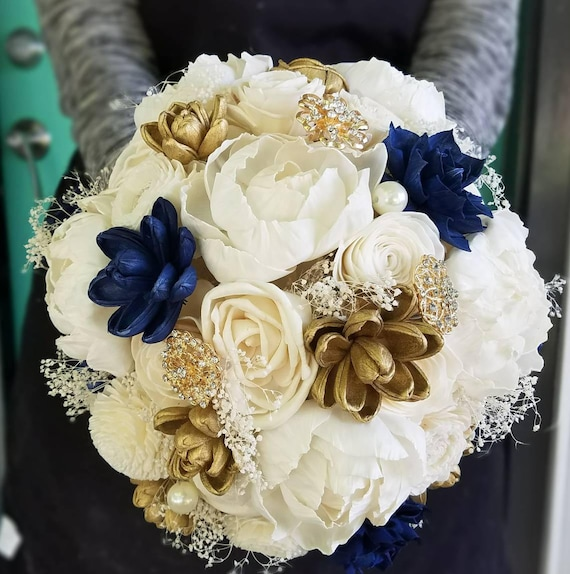 Sola Blume Blumenstrau Holz Strau Navy Blau Und Gold Etsy
