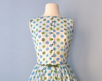 Vintage 1960s Day Dress...Semi Sheer Floral Day Dress 25 1/2 Inch Waist Small