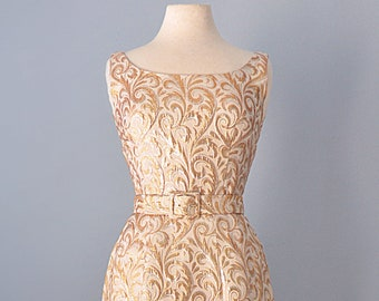 ba2eef42b0 RESERVED Vtg 1960s Cocktail Dress...KIMIE Silver and Gold Embroidered Cocktail  Dress Party Dress 26 Inch Waist