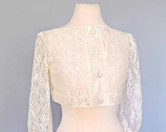 3dbc09be37 Vintage Lace Bolero...Sweet Ivory Lace Bolero Wedding Coverup