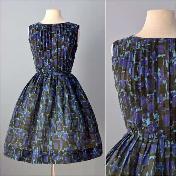 Vtg 1960s Day Dress...KERRYBROOKE Green and Purple