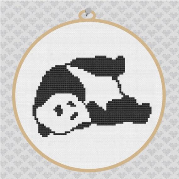 Panda Silhouette Cross Stitch Pdf Pattern Etsy