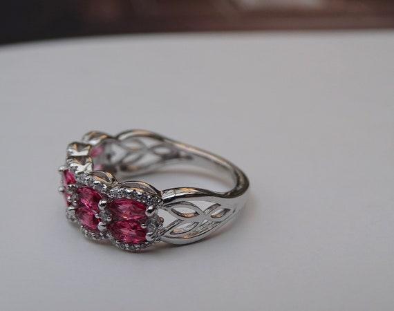SALE Ruby Ring Sterling Silver Ruby Topaz Valenti… - image 5
