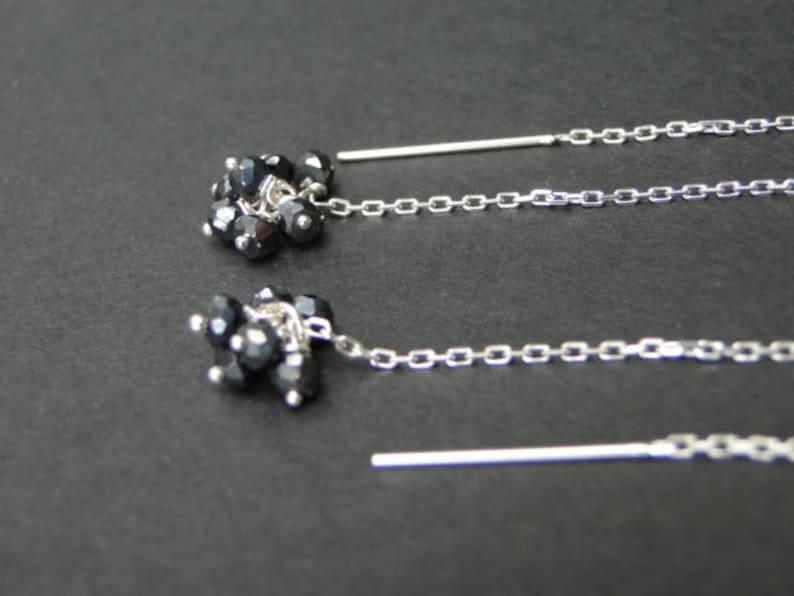 AAA Black Spinel Cluster Earrings  Black Spinel Gemstone Earrings  Dangle Earrings  Drop Earrings  Wedding Earrings  Accessories