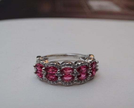 SALE Ruby Ring Sterling Silver Ruby Topaz Valenti… - image 4