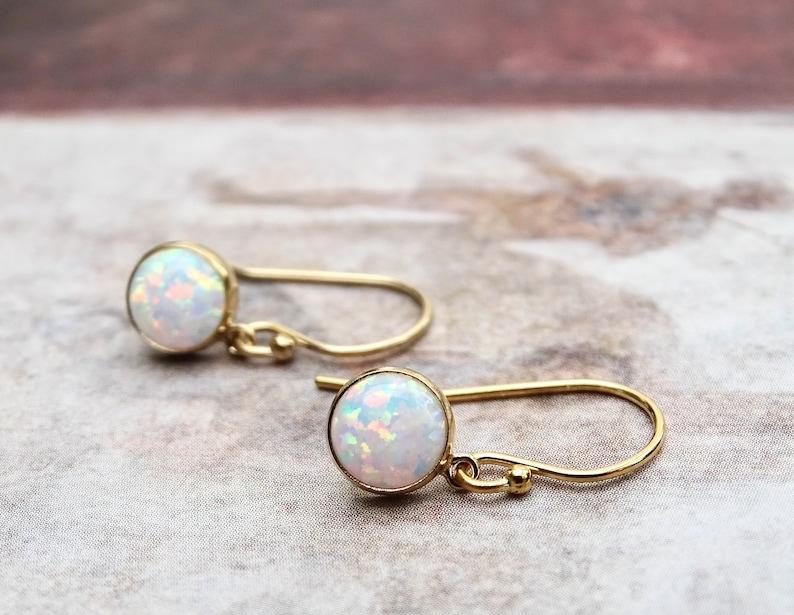 14k Opal Earrings Genuine Ethiopian Opal Stones 14k Solid Gold French Ear Wires Gift for Her Women/'s Opal Charm Earrings Gift Wrapped