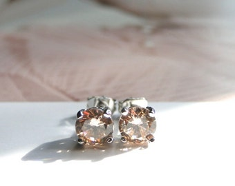 Gemstone Studs / Sterling Silver Morganite Earrings / Gift for Her / Jewelry / Champagne Gemstone Studs / Wedding Studs