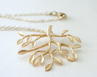 Jewelry / Gold Pendant Necklace / Tree of Life Necklace / 14k Gold Filled Chain / Mother's Day Gift / Accessories / Pendant Necklace