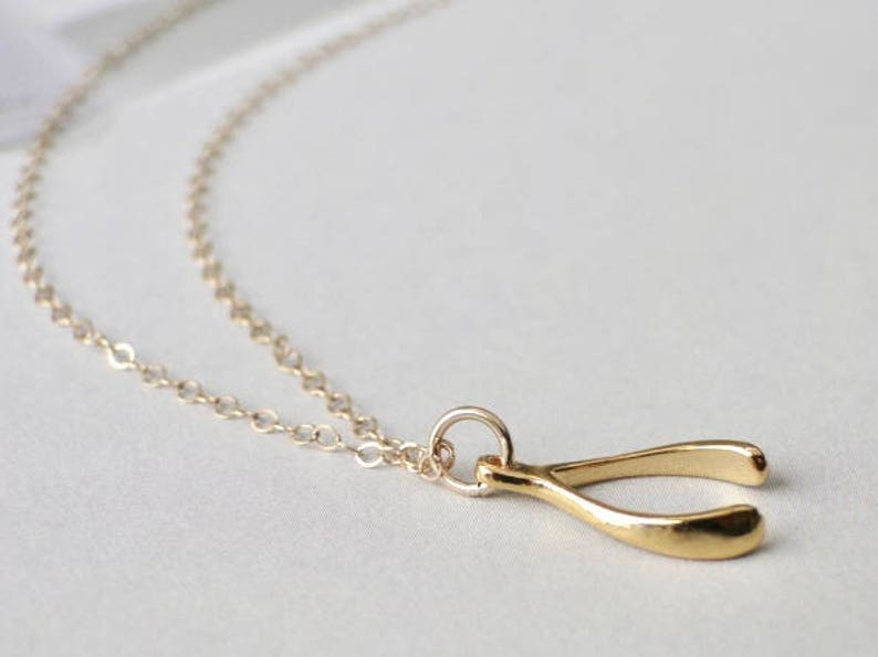49a2362b2ab2d SALE Necklace Pendant Wishbone Necklace FREE SHIPPING Women's Jewelry  Pendant Necklace Gold Wishbone Necklace 14k Gold Filled Chain