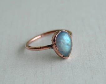 Labradorite ring, labradorite copper ring, labradorite teardrop ring, pear labradorite ring, electroformed labradorite ring, stacking ring