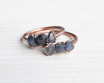 Raw sapphire ring, blue sapphire ring, raw stone ring, september birthstone ring, september birthstone jewelry