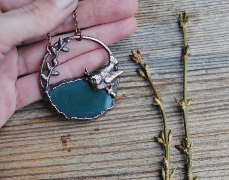 spirit animal necklace,animal totem necklace Agate slice necklace woodland necklace green copper necklace bird necklace spring necklace