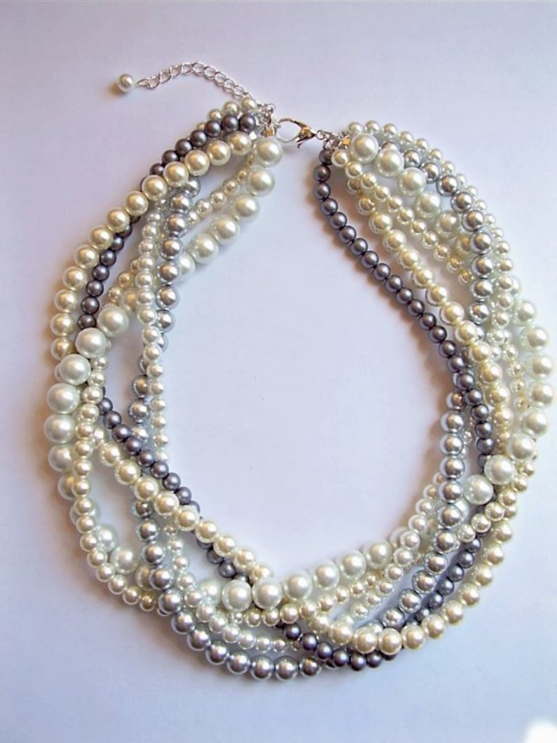 ee806dada63ee braided twisted pearl necklace chunky statement pearl necklace Bridesmaid  Bridal custom order necklaces