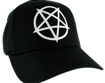 White Inverted Pentagram Hat Baseball Cap Black Metal Occult -  DYS-HTV-036-WHT-Cap 5648db4bd98