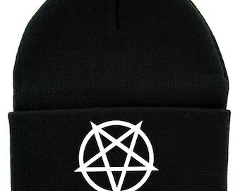 27e5a33783e White Inverted Pentagram Cuff Beanie Knit Cap Metal Occult - DYS-HTV-036- BEANIE